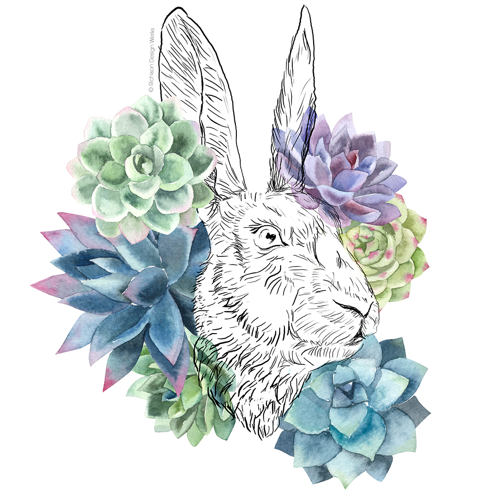 """""""Hare and Succulents"""". Mixed media."""